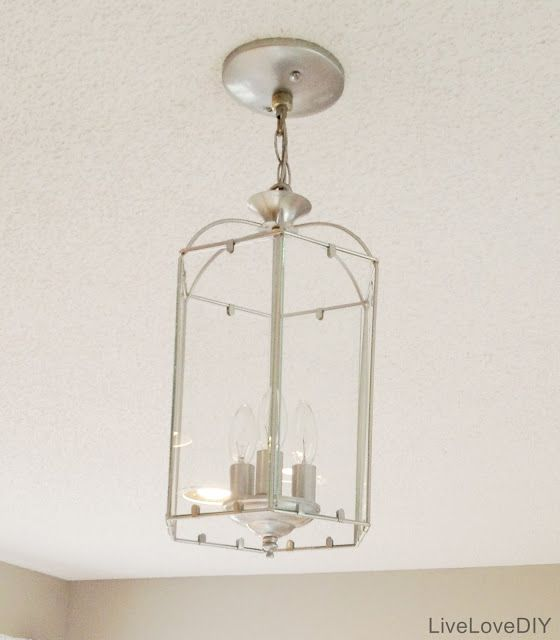 Thrift store furniture brass and furniture makeover on pinterest for Painting metal light fixture bathroom