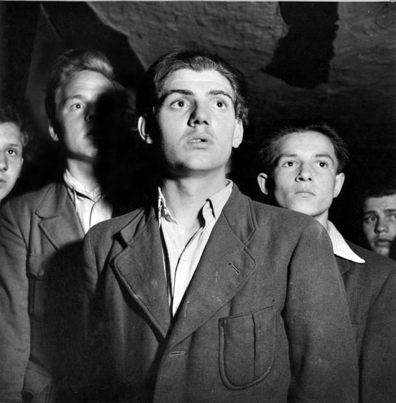Seventeen-year-old August Müller (center) and other teenage friends of the Edelweiss Pirates (German: Edelweißpiraten) pose for a group photo. Antagonistic to Hitler Youth, ambushing their patrols. Many assisted German army deserters, and it is believed they carried out several assassinations of Gestapo officers...