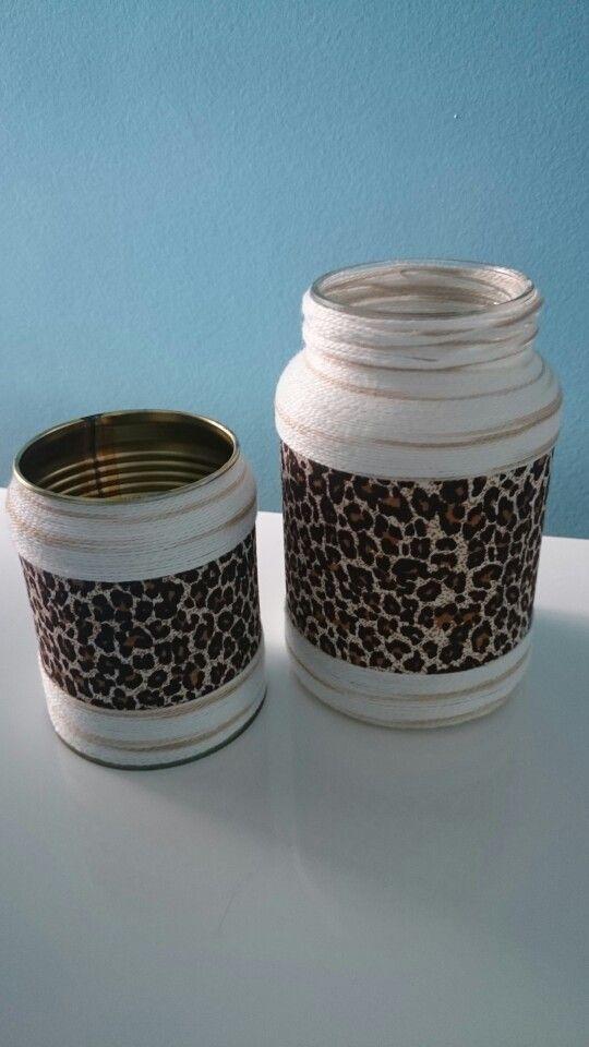 Reciclagem de lata e vidro, com tecido e linha, conjunto de porta lápis