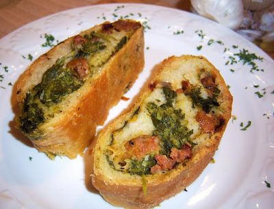 Spinach Mushroom and Sausage Roll with Artisian Dough