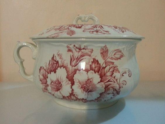 J h w sons hanley england semi porcelain antique - Pot de chambre antique ...