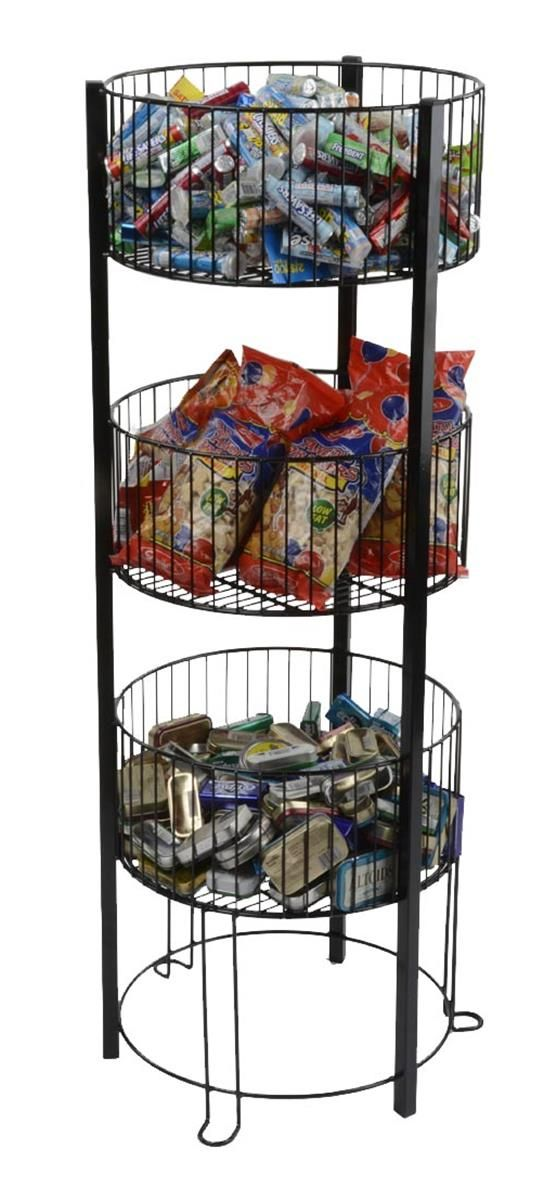 3 Tiered Wire Dump Bin Floor Standing Round Bins Steel Frame Black Tiered Basket Stand Flooring Retail Fixtures