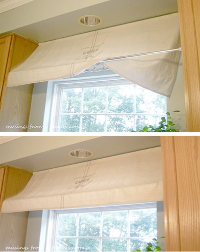 This is so cute to make your kitchen valance look like a cafe awning! It's just a tension rod. - Nessa