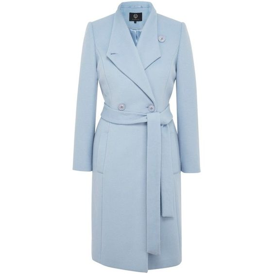 Viyella Pale Blue Asymmetric Wool Coat (2 220 UAH) ❤ liked on