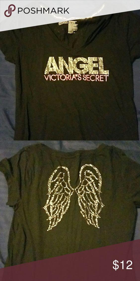 VS angel tee Victoria's secret angel tee with wings on back Victoria's Secret Tops Tees - Short Sleeve