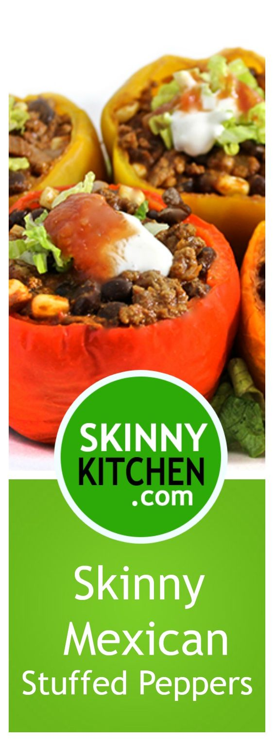 (NEW RECIPE) Skinny Mexican Stuffed Peppers. So colorful, easy and really yummy! Each fiber rich serving has 267 calories 4g fat and 5 SmartPoints. http://www.skinnykitchen.com/recipes/skinny-mexican-stuffed-peppers/