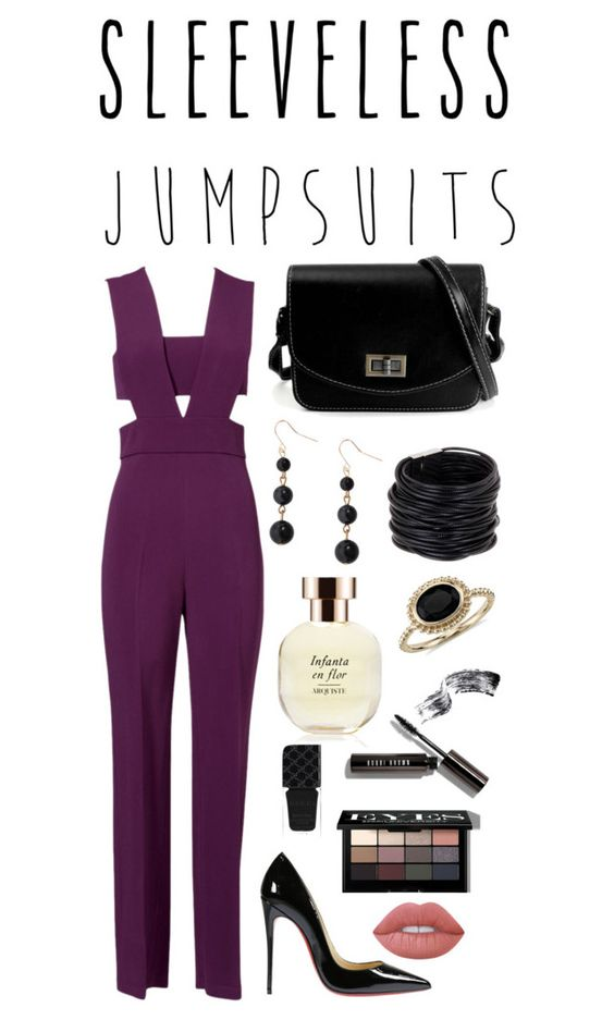 """""""Sleeveless Jumpsuits"""" by lls360 ❤ liked on Polyvore featuring Cushnie Et Ochs, Christian Louboutin, Humble Chic, Saachi, Arquiste Parfumeur, Blue Nile, Bobbi Brown Cosmetics, Gucci, Lime Crime and sleevelessjumpsuits"""