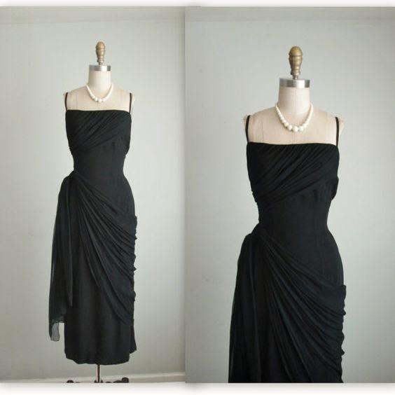 50 les de drapé robe en mousseline de soie par TheVintageStudio