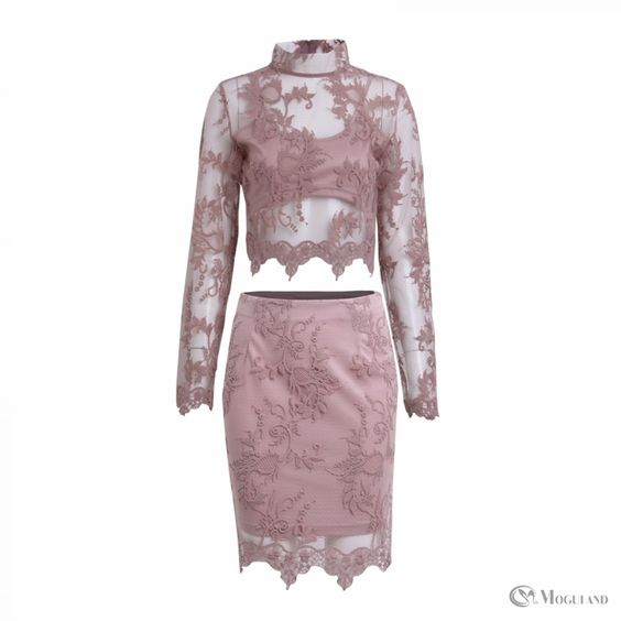 Ladies pink lace long sleeve top and skirt co-ord set wholesale ...