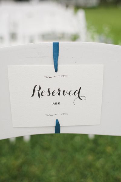 Day-Of Wedding Stationery Inspiration and Ideas: Reserved Signs via Oh So Beautiful Paper (7)