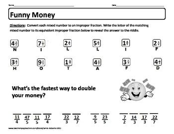 math worksheet : freebie riddle worksheet quot;funny money quot; self checking worksheet on  : Changing Mixed Fractions To Improper Fractions Worksheets