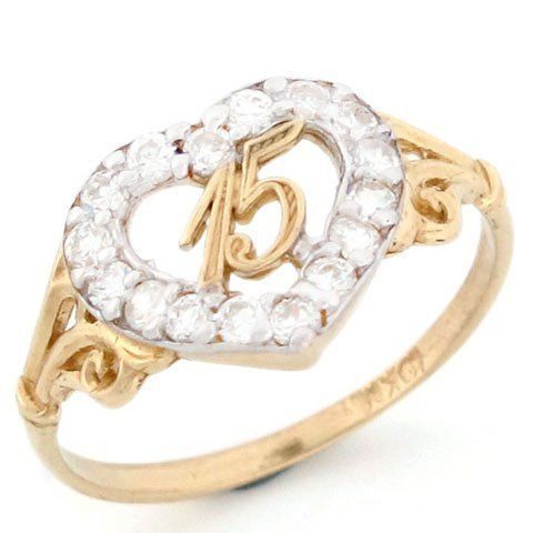 10k gold 15 anos birthday quinceanera cz ring