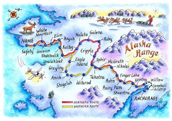 iditarod trail map | Iditarod Trail Map, artwork by Jennifer Thermes [source]: