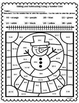 Free Winter Color By Number Adding And Subtracting Using A Number Line Subtraction Number Line Winter Math