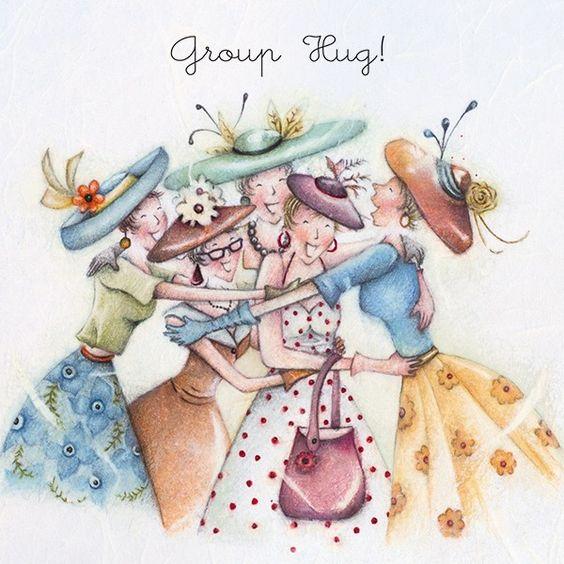 Cards » Group Hug » Group Hug  , Ladies Who Love Life ... Berni Parker funny cute art  Berni Parker Designs: