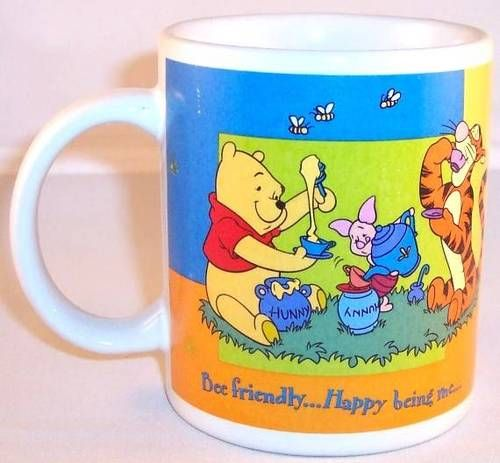 "New Disney Winnie The Pooh ""Bee Friendly"" ""Happy Being Me"" Coffee Mug"