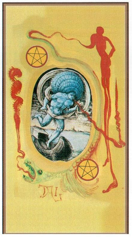 Two of Coins - Dali Universal Tarot by Rachel Pollack , Juan Llarch, Salvador Dali