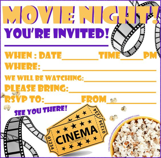 INVITATIONS FOR SLEEPOVER PARTY MOVIE NIGHT INVITATION FREE – Invitations for Sleepover Party