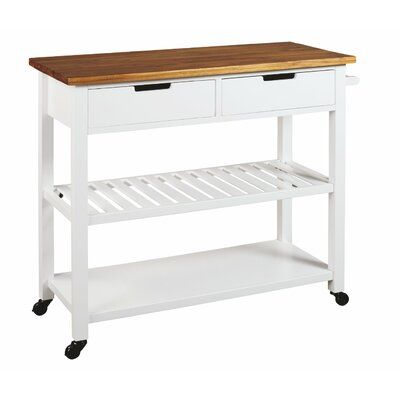 Winston Porter Arlott Kitchen Cart Kitchen Cart Signature Design White Paneling