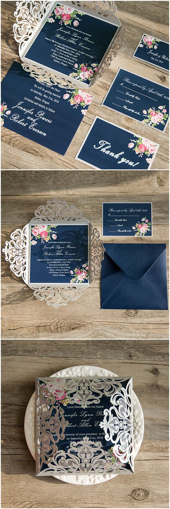 shabby chic navy blue and pink laser cut floral wedding invitations @elegantwinvites: