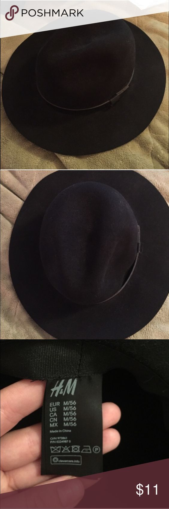 H&M Wide brimmed felt hat Size listed in photos, has pleather belt around hat H&M Accessories Hats