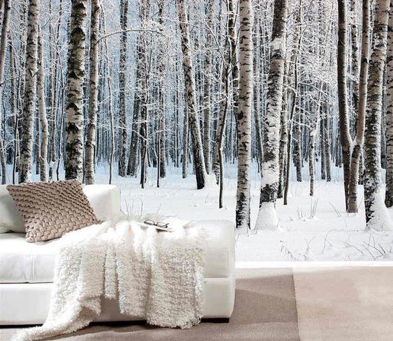 papier peint foret neige recherche google deco appartement pinterest murs de photos des. Black Bedroom Furniture Sets. Home Design Ideas