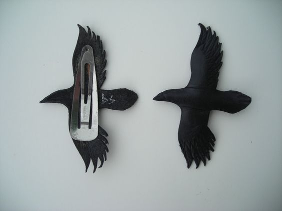 leather raven hair clips. $28.00, via Etsy.