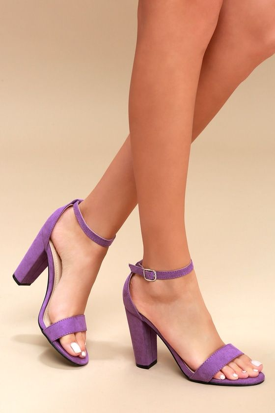 Purple Heels With Ankle Strap