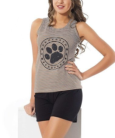 Look what I found on #zulily! Black Paw Print Sleep Shorts Set - Women #zulilyfinds