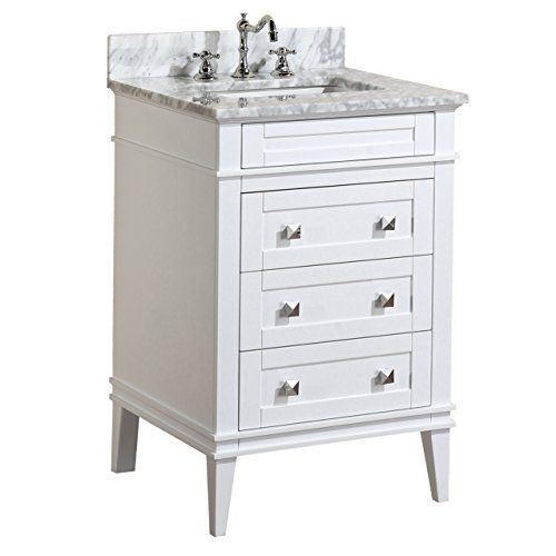 Eleanor 24 inch bathroom vanity carrara white includes - Small bathroom cabinet with drawers ...