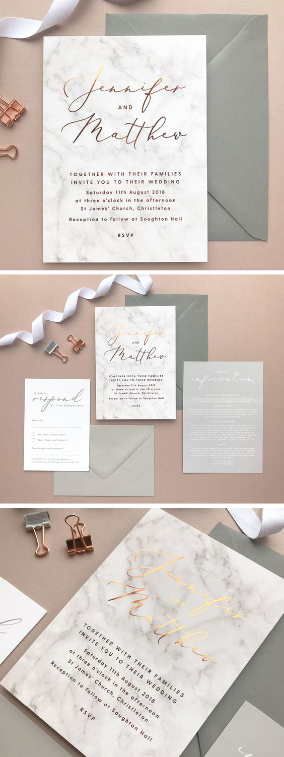 Grey marble and copper foil wedding invitations and stationery by Project Pretty