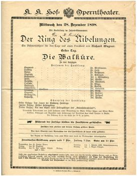 "RICHTER CONDUCTS at the K.K. HOF OPERNTHETAER WIEN-  -28 December 1898- ""Die WALKURE"