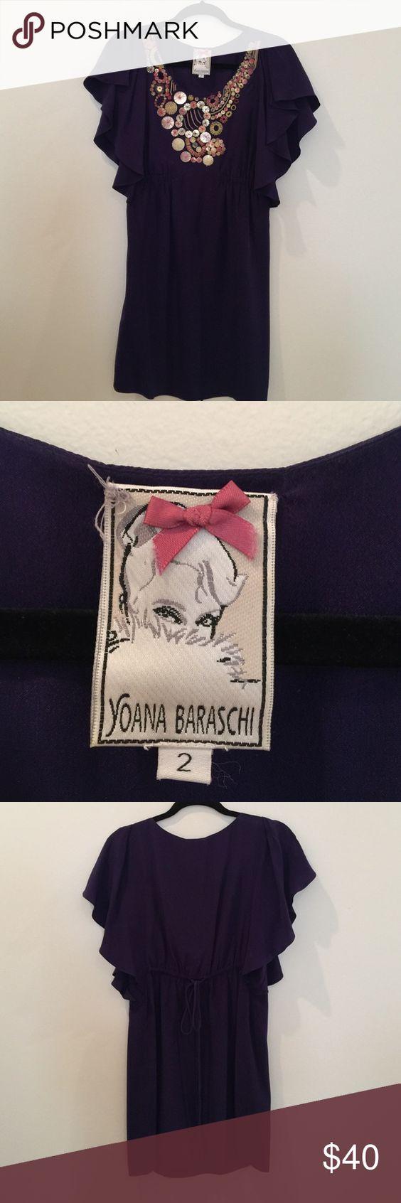 Anthropologie Yoana Baraschi Embellished Dress Good condition, Size 2, flutter sleeves, tie back Anthropologie Dresses