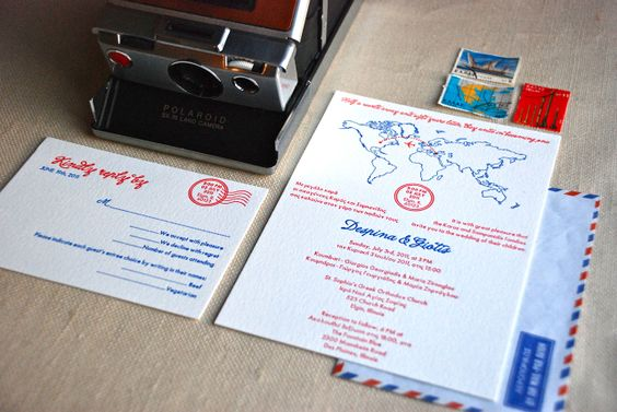 Map Bilingual Letterpress Wedding (Greek/English) Invitation Suite by Cartoules Press
