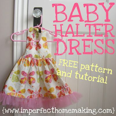 Baby halter dress: step-by-step instructions: Kids Clothes, Dress Tutorials, Baby Girl Dresses, Free Pattern, Baby Dress Patterns, Baby Dresses, Halter Dresses, Sewing Patterns