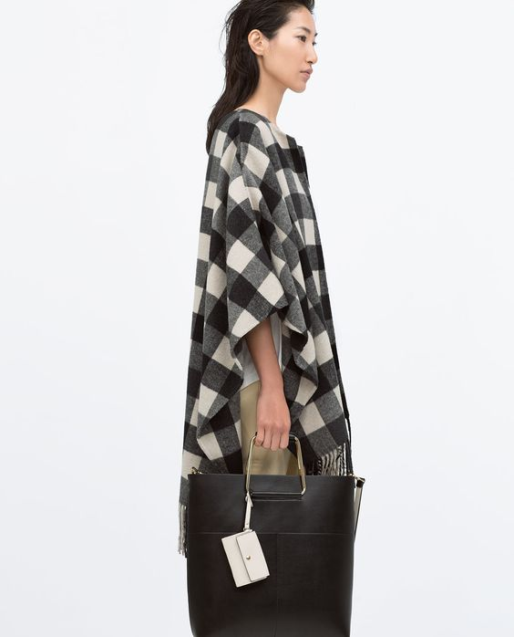 HANDMADE CHECKED PONCHO from Zara