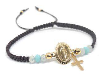 Virgin Mary Medal Adjustable Tenis Bracelet Virgen de la Milagrosa Jewelry