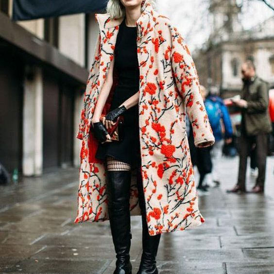 Elegant High Collar Jacquard Weave Oversized Long Sleeves Coat
