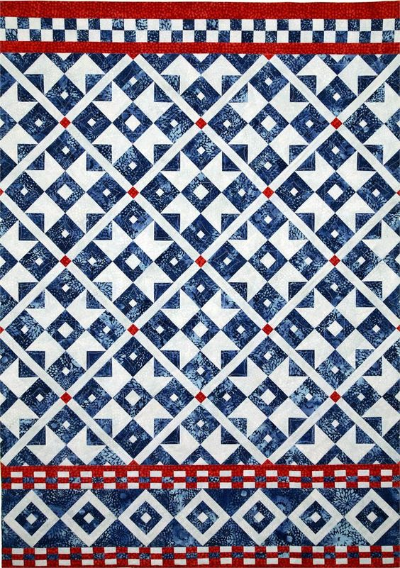 Scandinavian Sky Quilt Pattern HMD-106 (Wall Hanging, Intermediate) a lovely red white and blue combo: