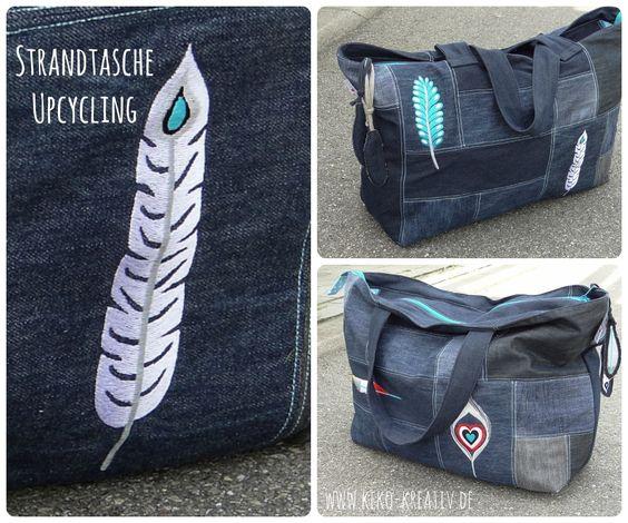 Strandtasche aus Jeans-Patchwork mit coolen Federn bestickt.