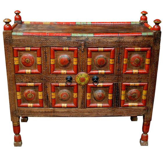 Early 20th Circa Pakistani Painted Dowry Chest Antiques Modern Cabinets And Pakistani