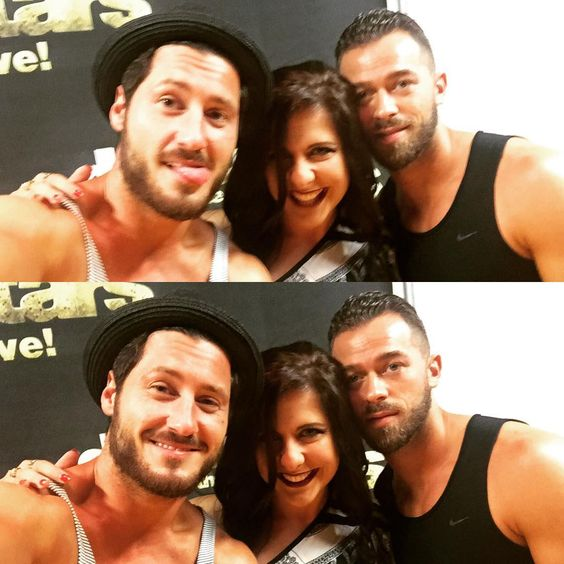 Being goofy with the guys ❤️ #DWTSTOUR #vip #perfect10 #DWTS #totalfangirlmoment  @iamvalc @artemchigvintse
