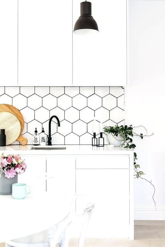 Medium White Hexagon Backsplash Google Search Backsplash Kitchen White Cabinets Kitchen Design Diy Kitchen Tiles Backsplash