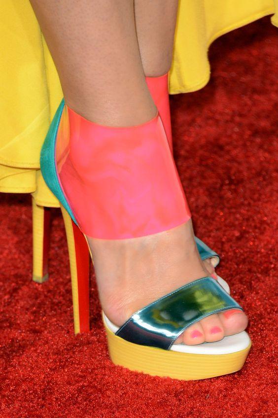christian louboutin pink sandals with a chiffon cascade