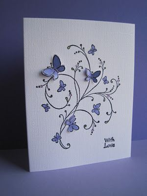 Handmade Card ideas ... rubber stamped, embossed, popped  hope my friend LORI GERADS sees this card. ;-)