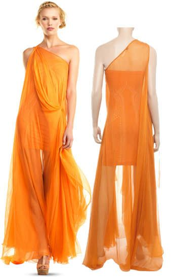 For the gala... Max Studio One Shoulder Orange Silk Chiffon Maxi ...