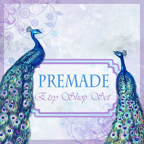 Premade Etsy Shop Banner Set 2  Pretty Peacocks  by CandyGraphics, $10.00