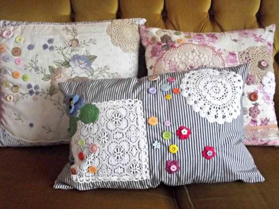 Handmade Shabby Chic Pillows : Handmade Shabby Granny Chic Cushion/Pillow by mandyjanegordon, ?15.00 Cushions Pinterest ...