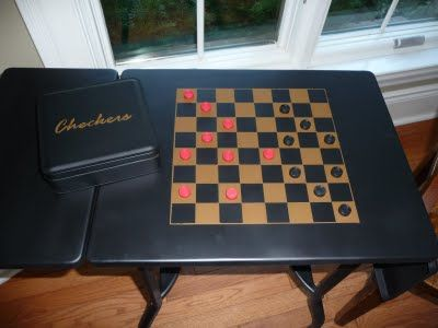 Joy Beadworks: Typewriter Table Makeover - painted flat black and made into a games table...