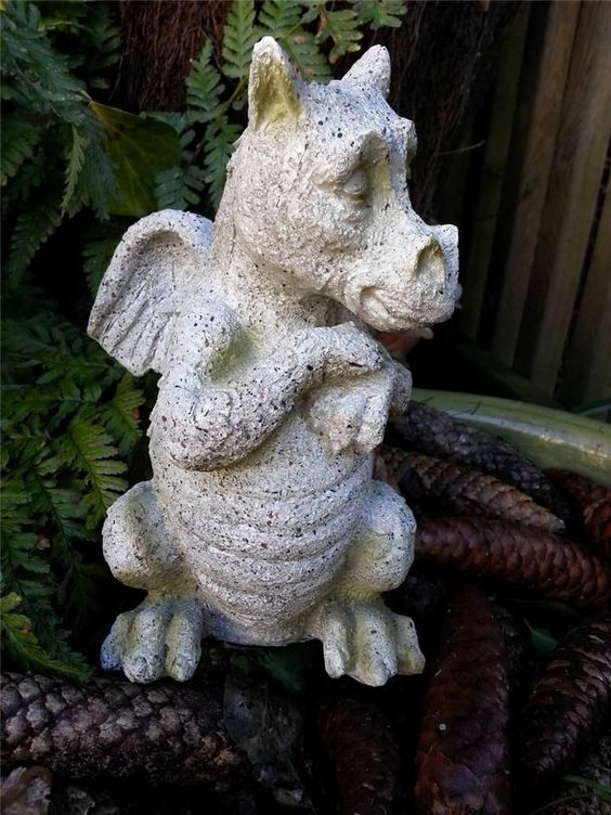 New Cute Dragon Ornament Stone Effect Garden Sculpture Standing Gargoyle Statue | eBay
